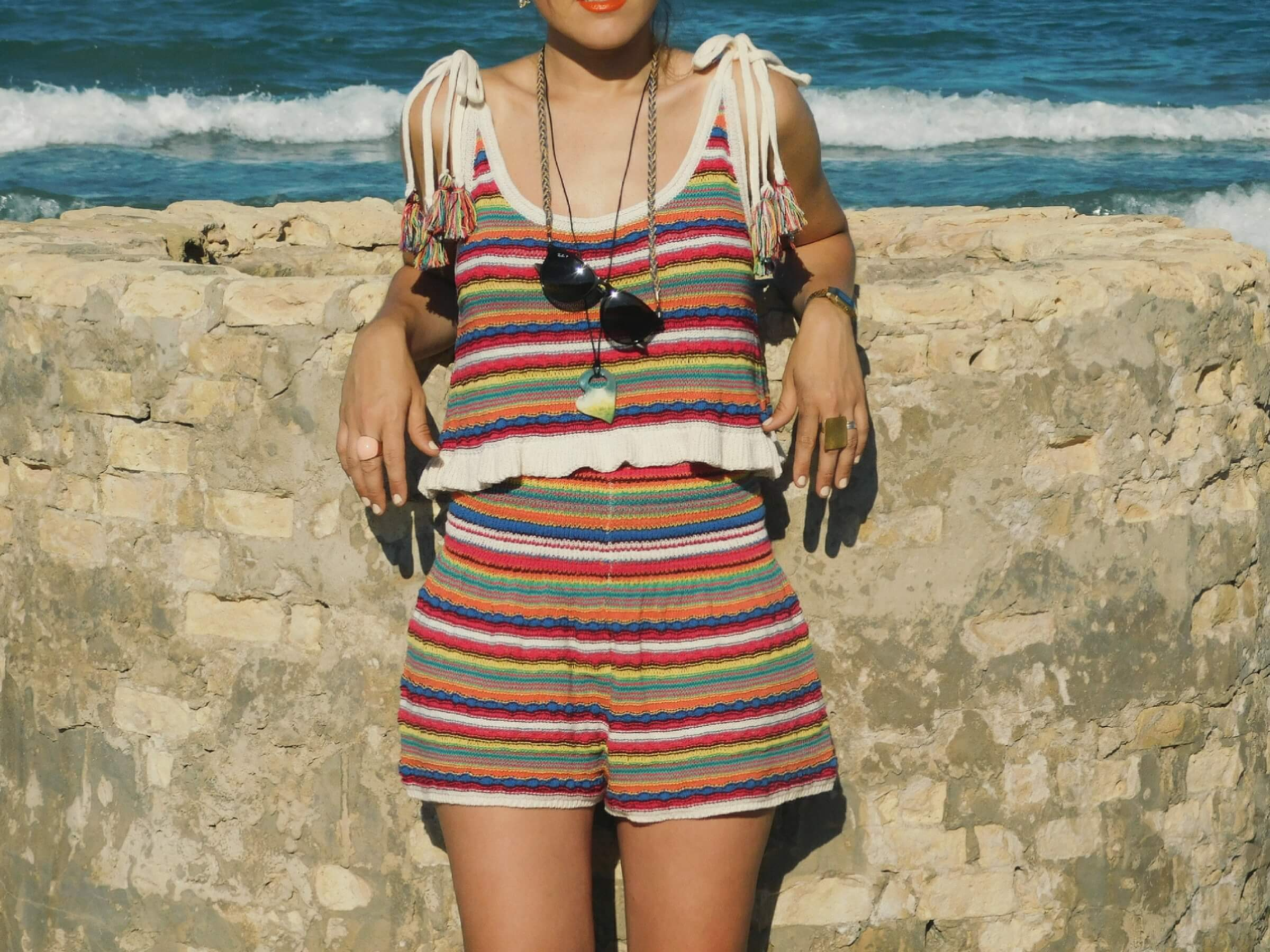 Outfit multicolor a rayas